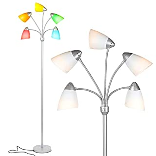 Brightech Medusa LED Floor Lamp - Multi Head Adjustable Tall Pole Standing Reading Lamp for Living Room, Bedroom, Kids Room - Includes 5 LED bulbs and 5 White & Colored Interchangeable Shades – Silver