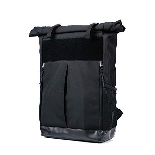 Black Trendy Rolltop City Travel Urban Bicycle Men Women Backpack By Keeppacks 25L, Water Repellent