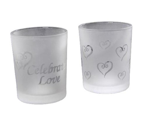 Darice Celebrate love and floating hearts Frosted Candle Holder, 2-Inch a set of two