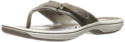 CLARKS Women's Breeze Sea Flip Flop, New Pewter Synthetic, 8 M US - Breeze Womens Sandals