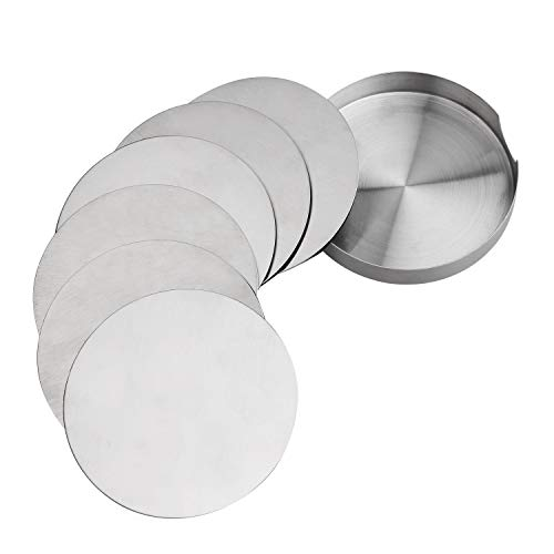Case Metal Set Coaster - Coasters for Drinks, Set of 6 Stainless Steel Round Coaster With EVA Back, Eco-friendly, Reusable, Heat-Resistant Drink Coasters for Office Home To Protect Furniture Water Stains and Scratched (6)