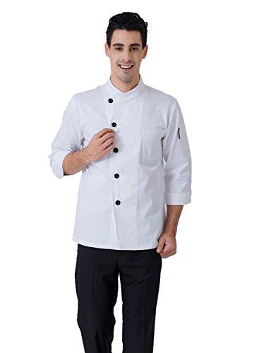 JXH Chef Uniforms men's white long sleeve single - Camo Chef Coat
