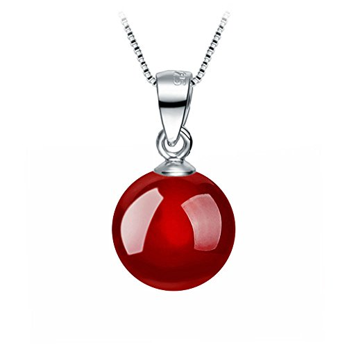 TenDollar Silver Plated Natural Agate Carnelian Pendant Necklace Wild Retro Jewelry 8MMs (Red)