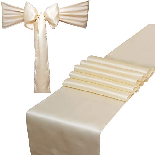 Combo Pack - 2 Satin Table Runners 12 x 108 inch & 10 Chair Sashes for Wedding Banquet Decoration, Bright Silk and Smooth Fabric Party Decor (Combo 2 Table Runner + 10 Chair Saches, Ivory)