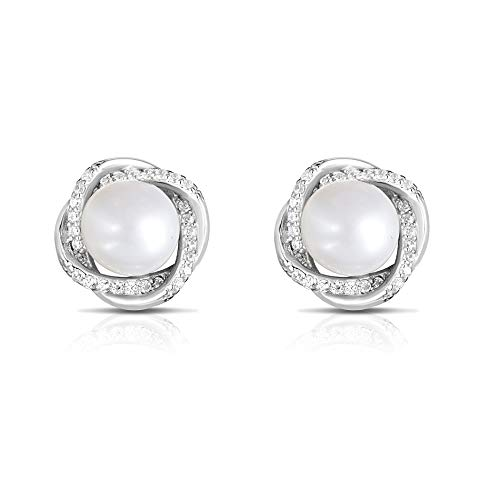 (Unique Royal Jewelry 925 Sterling Silver Cubic Zirconia Cultured Freshwater Pearl Love Knot Classic Designer Pierced Post Stud Earrings. (Rhodium-Plated Sterling Silver))