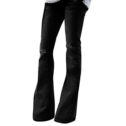 Creazrise Womens Jeans Boho Denim Hole Female Mid Waist Stretch Slim Ripped Belly Flare Pants
