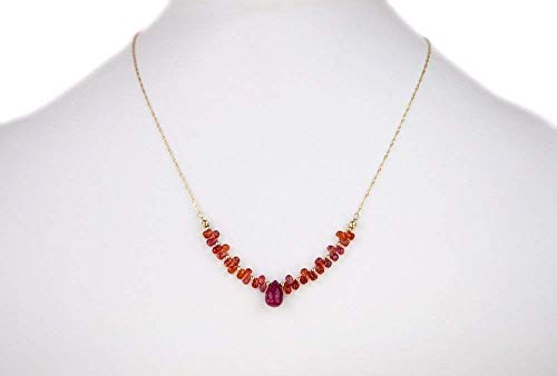 (Ruby Pendant Necklace Faceted Sapphire Drop Briolettes 14K Gold Round Beads on a Solid 14K Gold Chain 17