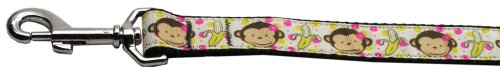 Mirage Pet Products Monkeys and Bananas Nylon Ribbon Collars with 1-Inch by 6-Feet Leash for Pets