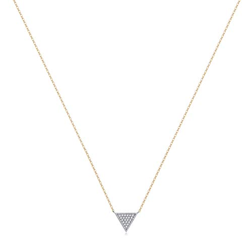 Valloey Rover Gold Star Necklace,Dainty 14K Gold Filled Sterling Silver Round Dot Tiny Heart Little Star CZ Choker Necklace Jewelry Gift for Women (CZ-Triangle)