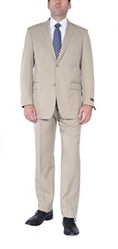 P&L Men's 2-Piece Modern Fit 2 Buttons Side Vent Suit Jacket Pleat Pants ()