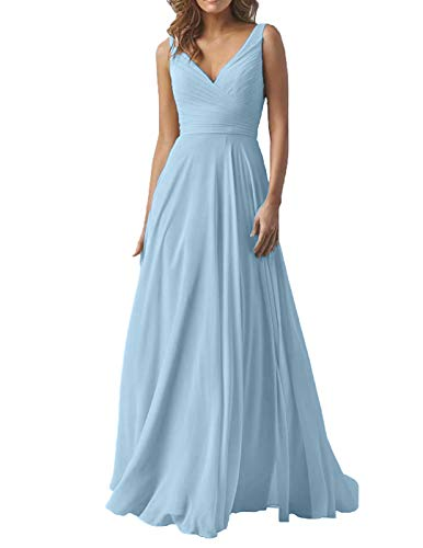 Sky Blue Wedding Wedding Bridesmaid Dresses Long V-Neck Chiffon Formal Evening Party Gown for Women 2019