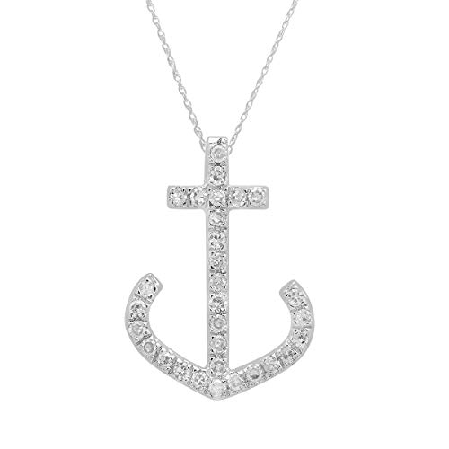 Dazzlingrock Collection 0.10 Carat (ctw) 14K Round Diamond Ladies Anchor Pendant 1/10 CT (Silver Chain Included), White Gold