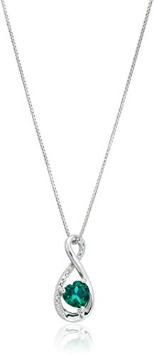 Diamond Accent Infinity Necklace (sterling silver heart lab-created emerald pendant with diamond pendant necklace, 18