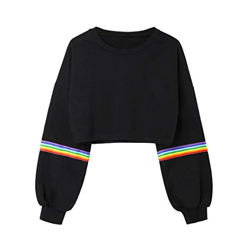 Oksale Womens Long Sleeve Striped Crop Short Sweatshirt Jumper Black Pullover Top (Black, ()