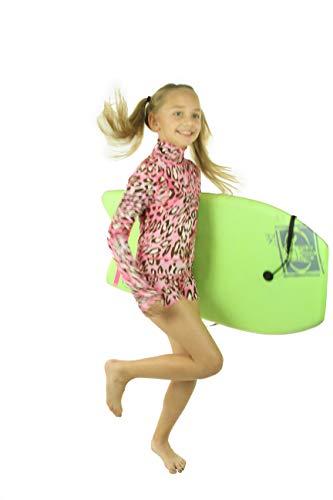 tutublue Girl's One-Piece Short Beach Swimsuit UV Sun Protection Body Suit (08-09, Pink Leopard) ()