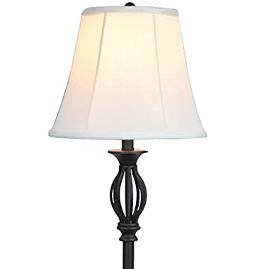 Light Accents Traditional Iron Scrollwork Floor Lamp, Bronze with Fabric Shade