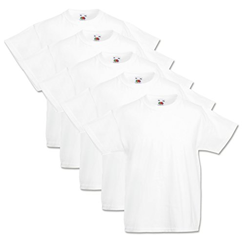 5 Fruit of the loom Kinder T Shirts Weiss 104 116 128 140 152 164 (140, Weiss)