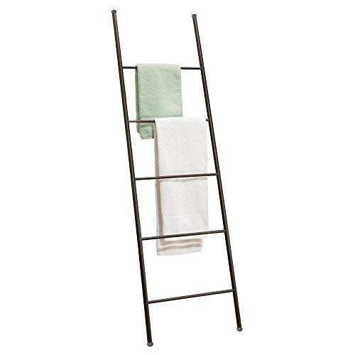 mDesign Metal Free Standing Bath Towel Bar Storage Ladder - Holds Towels, Blankets, Clothes and Magazines/Newspapers - 5 Levels - Ladder Steel