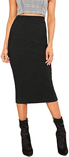 SheIn Women's Elegant Plain Stretchy Ribbed Knit Midi Full Length Basic Pencil Skirt