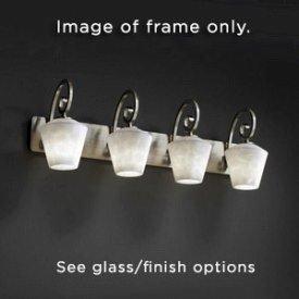 Justice Design CNDL-8574-19-CREM-MBLK Victoria Four Light Bath Bar, Glass Options: CREM: Cream Shade, Choose Finish: Matte Black Finish, Choose Lamping Option: Standard (Justice Design Cream Matte Bars)