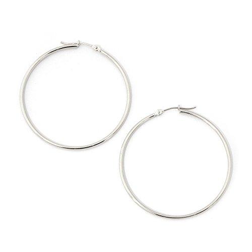 14k White Gold 1.5mm Thin Polished Hoop Earrings, 1.5