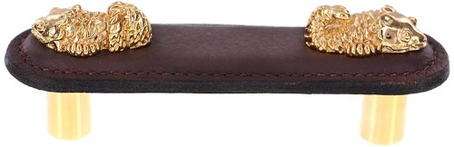Polished Gold Vicenza Designs K1156 Pollino  Koi  Leather  Pull Brown 3-Inch