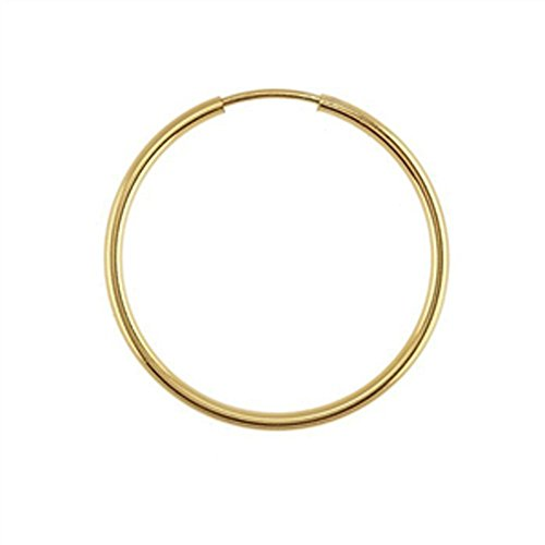 Designs by Nathan, 14K Yellow Gold Filled Seamless Endless Hoop Earrings, 7 Choices (Slender 1.3mm x (14k Gold Design Earrings)