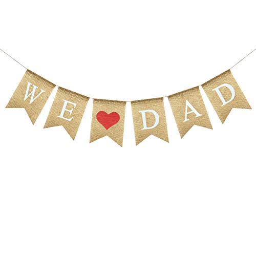 Uniwish We Love Dad Banner Burlap Bunting Rustic Papa Gift Happy Father's Day Birthday Party Decorations for Men -