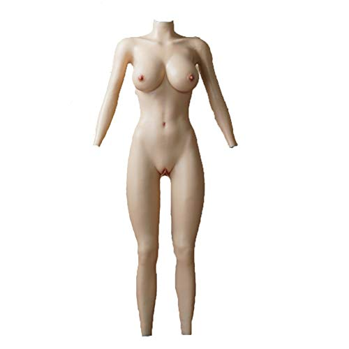 Crossdresser Zentai Suit SiliconeFull Bodysuit Crossdresser Silicone F Cup Breast Vagina with Sleeves Buttocks Pad Fake Pussy (Color 2) -