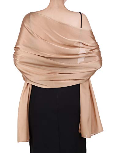 Boao Women Satin Scarves Long Shawl Wrap Light Soft Sheer Scarf for Wedding Party Everyday Accessory (Khaki)