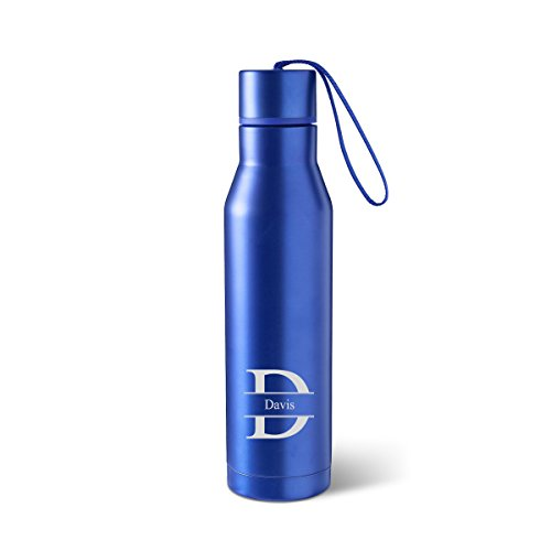 Personalized Blue Double Insulated Steel Style Water Bottle - Personalized Water Bottle - Stamped Monogrammed -