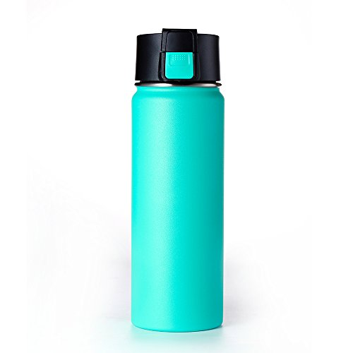 Double wall Vacuum Insulated Stainless Steel Wide Mouth Sports Water Bottle, Leak Proof Coffee Travel Mug with Flip Lid - 600ml,20oz -Blue