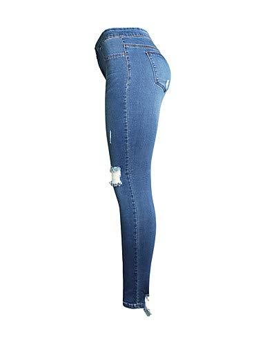 Pantalon Blanc amp; Pliss YFLTZ Femme Blue Solide Noir Basic Couleur Jeans pour qddS7axw1