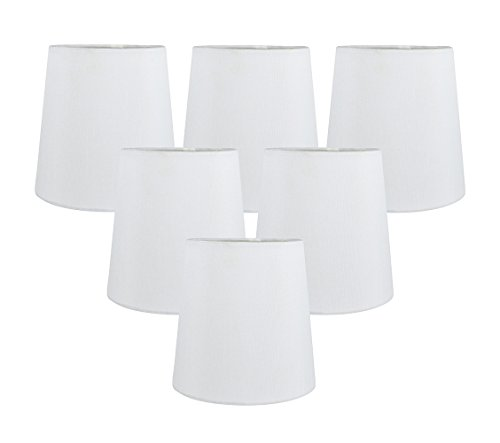 Meriville Set of 6 Off White Faux Silk Clip On Chandelier Lamp Shades, 4-inch by 5-inch by 5-inch ()