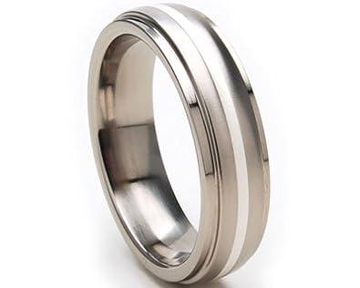 New 6mm Titanium Rings w/ Sterling Silver, Titanium Wedding Rings