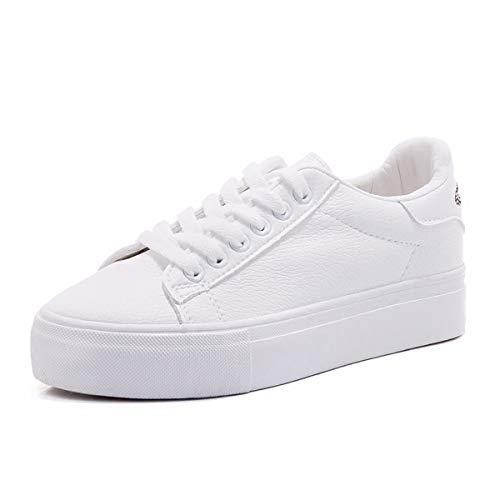 KOKQSX-Calle Pat Fondo Grueso pequeños Zapatos Blancos Las Empanadas los Zapatos de Lona Zapatos de Ocio Junta.35 White