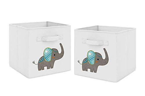 Turquoise and Grey Mod Elephant Foldable Fabric Storage Cube Bins Boxes Organizer Toys Kids Baby Childrens for Collection by Sweet Jojo Designs - Set of 2 (Elephant Jojo Designs Sweet)
