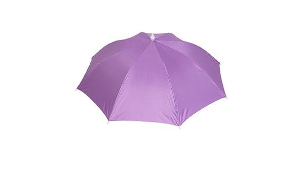 Amazon.com: eDealMax Poliéster Headwear Canopy Anti paraguas de sol Sombrero púrpura: Home & Kitchen
