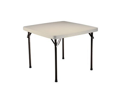 Lifetime 22301 Folding Square Card Table, 37 Inch Top, Almond