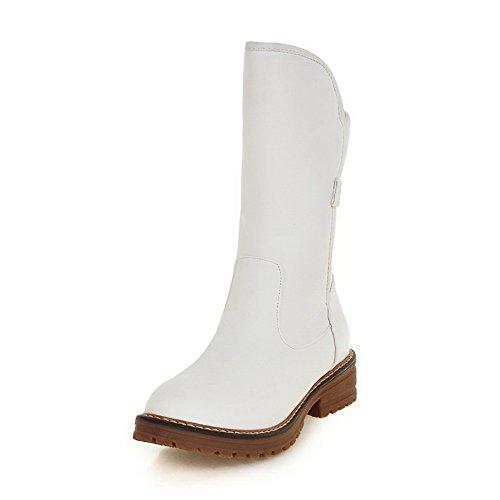 VogueZone009 Damen Rein Blend-Materialien Niedriger Absatz Ziehen auf Rund Zehe Stiefel, Rot, 35