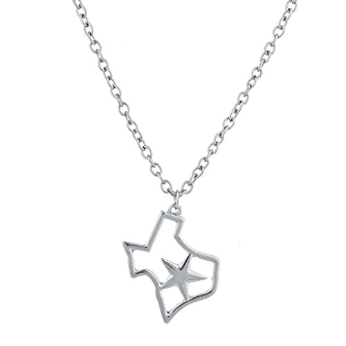Lux Accessories Silver Tone Texas State Shape Star Novelty Charm Necklace