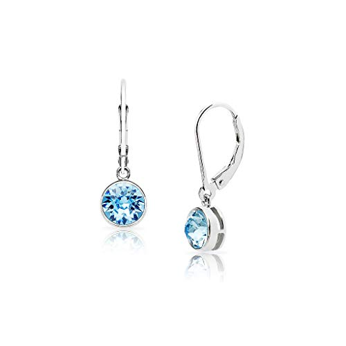 SolidSilver - Sterling Silver 6mm Round Solitaire Dangle Leverback Earrings Made with Swarovski Crystal | Aquamarine