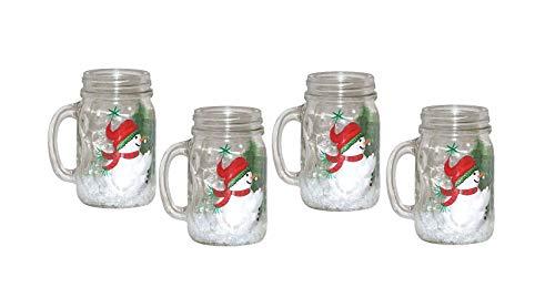 Set of 4 Snowman Mason Jar Mugs. Hand Painted.