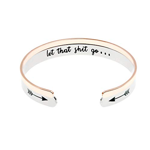 MS.CLOVER Hand Stamped Stainless Steel Let That Shit Go Bracelet Gifts Bracelets for Women Yoga Gift Idea Mature Motivation Jewelry.
