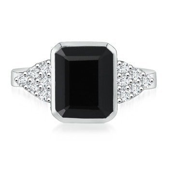 Solitaire Cut Emerald Diamond - Emerald-Cut Black Onyx Cocktail Ring with Diamond Accents in 14K White Gold (9x7mm Black Onyx)