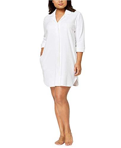Charter Club Women's Plus Size Notch-Collar Robe, Bright White, -