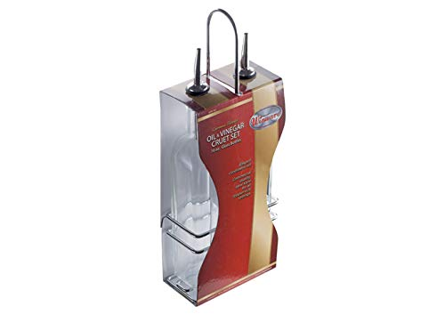 Winco GOB-16S, 5.2'' x 2.8'' Oil And Vinegar Cruet Set With Stainless Steel Chrome Plated Rack And Two 16 Oz. Square Glass Bottles, Salad Dressing Cruets