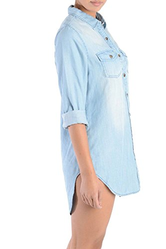 Blue D6G Denim Women's American RSD337 Shirtdress Bazi Light Short CqnYz8