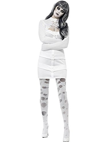 Smiffys Women's Sexy Straitjacket Costume, Dress, Mock Shrug and Lace Up Detail, Hell's Asylum, Halloween, Size 10-12, 33287