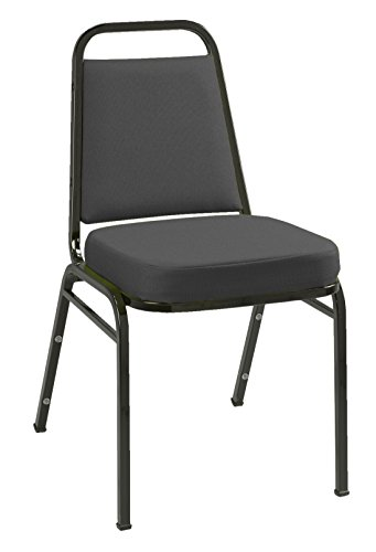 KFI Seating IM820 Armless Stacking Chair, Commercial Grade, 2-Inch, Black Fabric/Black Frame by KFI Seating
